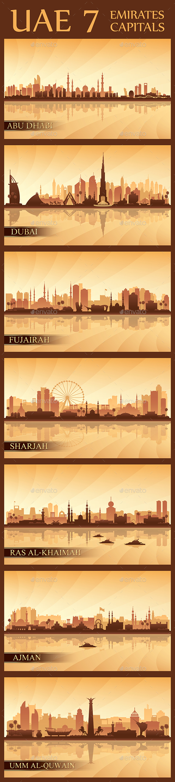 All the capital cities of the United Arab Emirates - Backgrounds Decorative