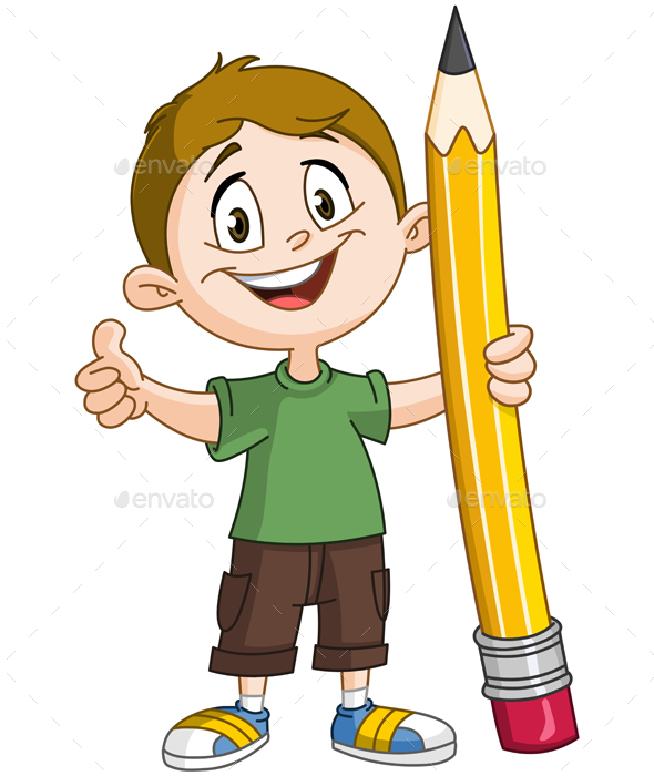 Boy Holding Pencil - People Characters