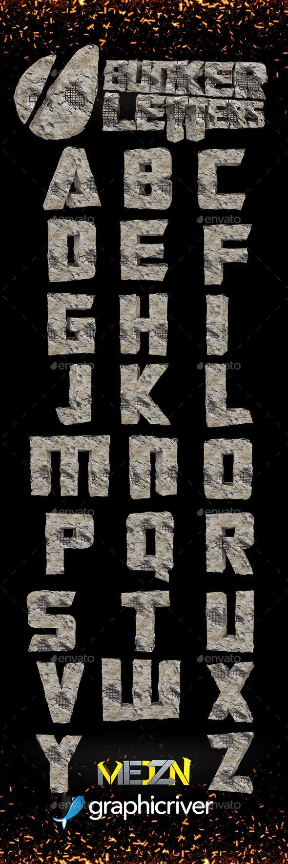 Bunker Letters - Text 3D Renders