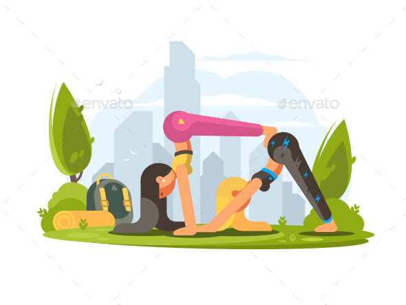 Girls Practice Yoga in Park - People Characters