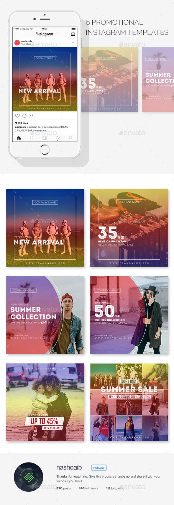 Modern Instagram Promotional Templates - Social Media Web Elements