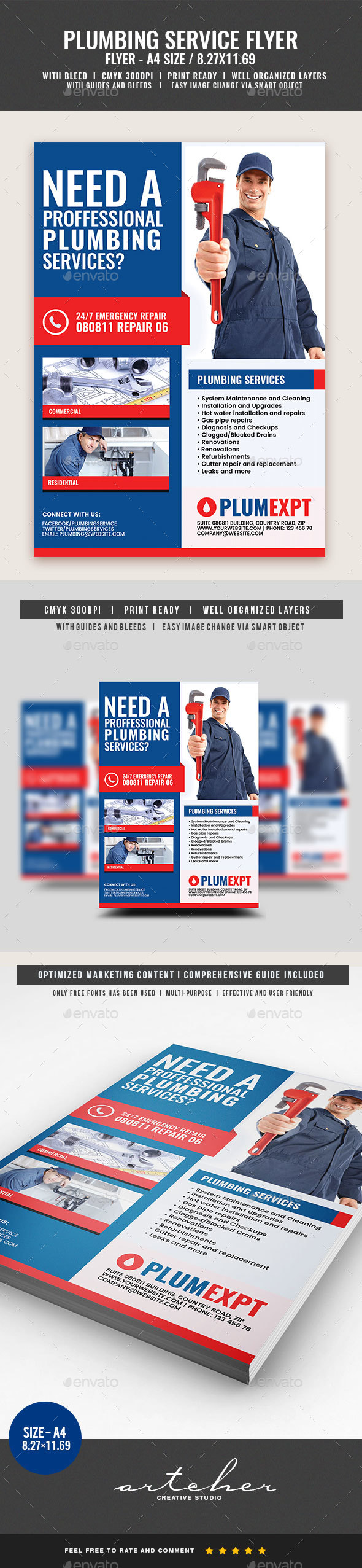 Professional Plumbing Service - Corporate Flyers