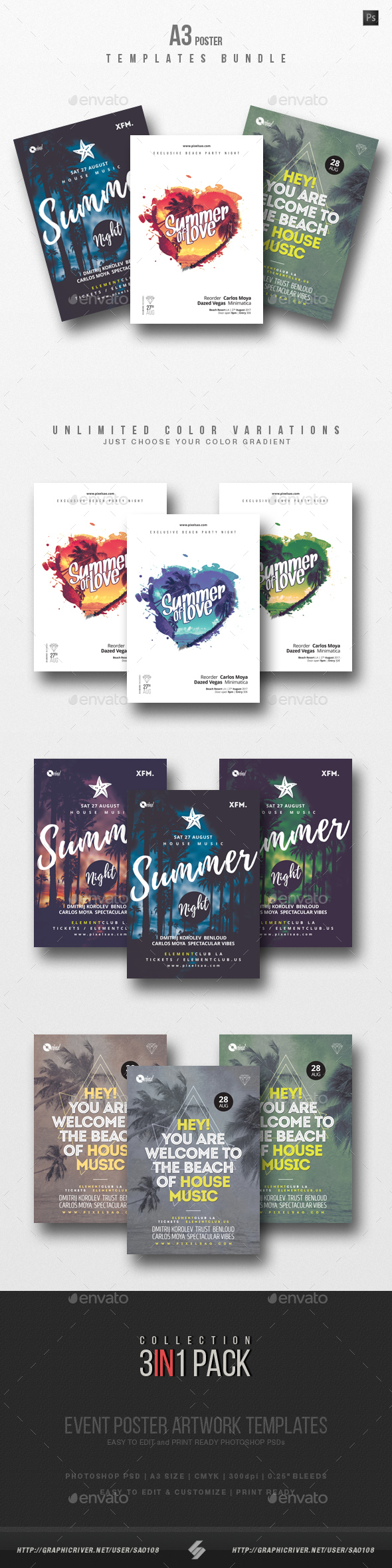 Summer Beach Party Flyer / Poster Templates Bundle - Clubs & Parties Events