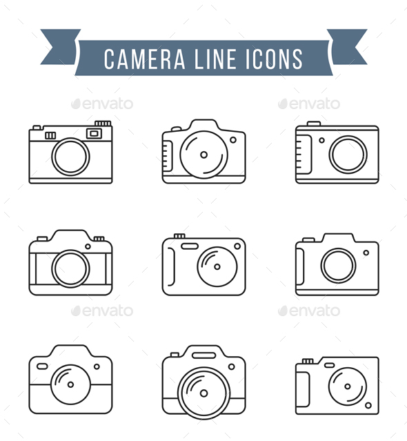 Camera Line Icons - Objects Icons