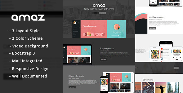 Amaz – Retina Ready Bootstrap Mobile App Landing Page