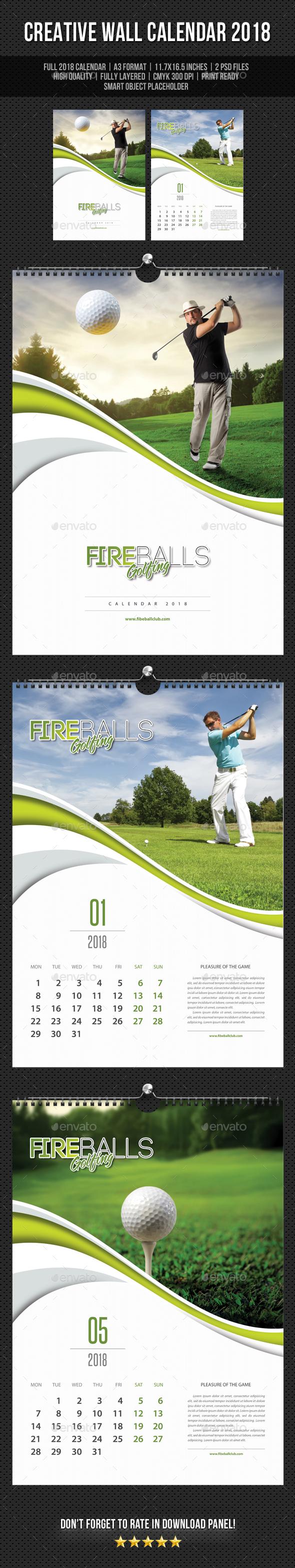 Golf Play Wall Calendar A3 2018 V03