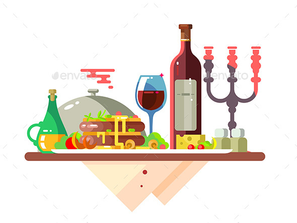 Dinner Table with Food at Restaurant - Food Objects