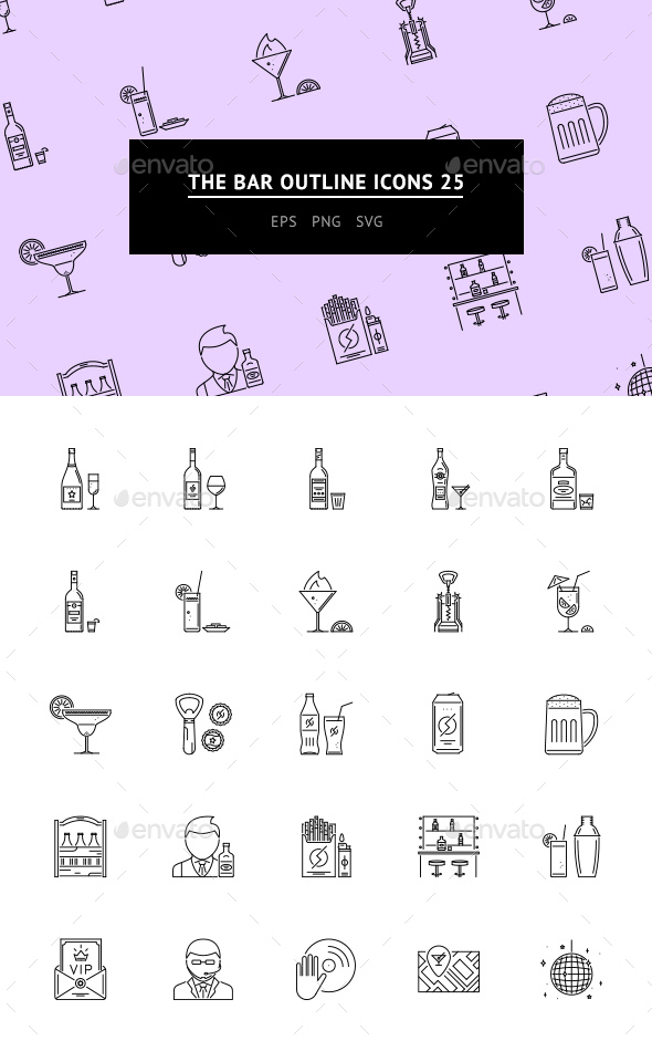 The Bar Outline Icons 25 - Web Icons