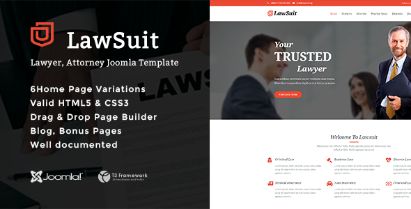 LawSuit - Lawyer, Attorney Joomla Template - Business Corporate