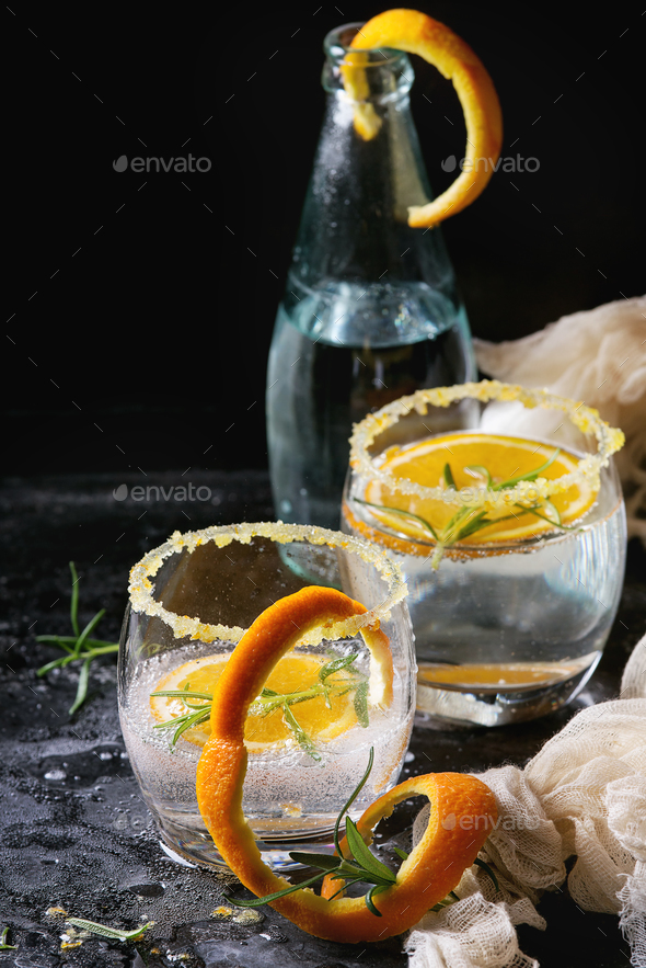 Tonic cocktail with rosemary and orange - Stock Photo - Images