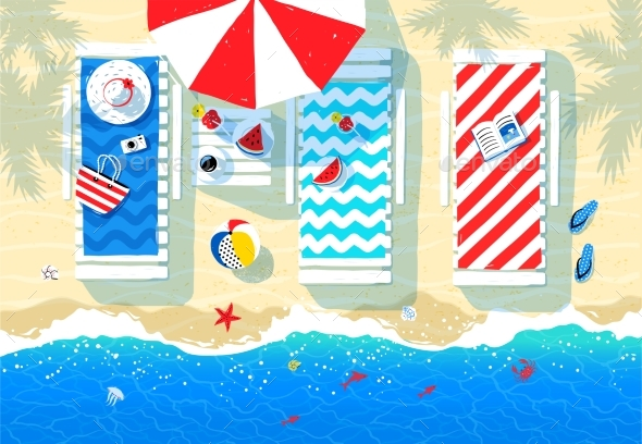 Summer Illustration of Sun Beds - Travel Conceptual