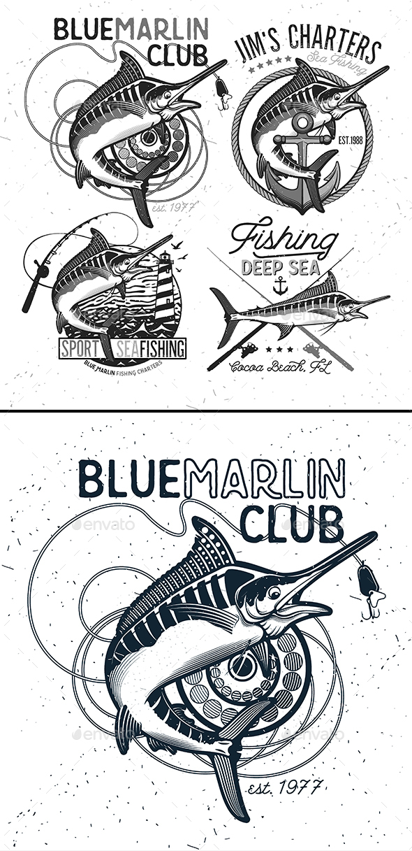 Fishing Vector Logo. Blue Marlin or Swordfish icons. - Sports/Activity Conceptual