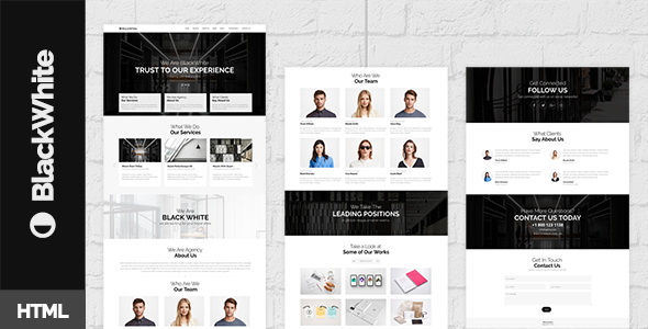 BlackWhite — Onepage Bootstrap Parallax Retina Template - Creative Site Templates