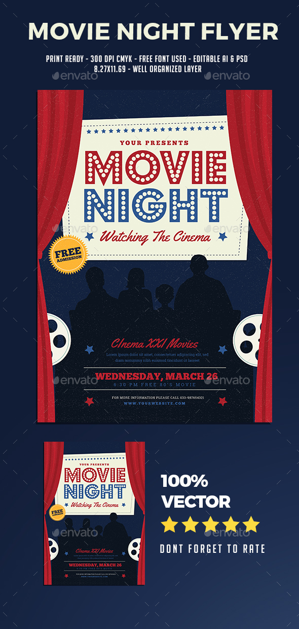 Movie Night Flyer - Flyers Print Templates