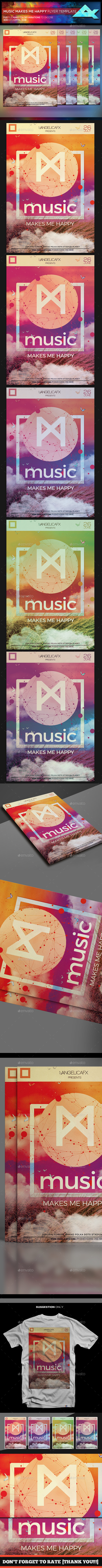 Music Makes Me Happy Flyer Template - Flyers Print Templates
