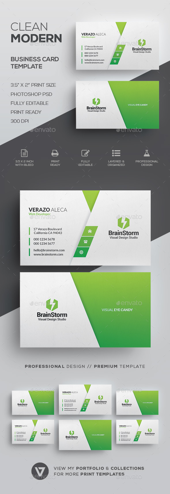 Clean Modern Business Card Template By Verazo GraphicRiver - Business card template pages