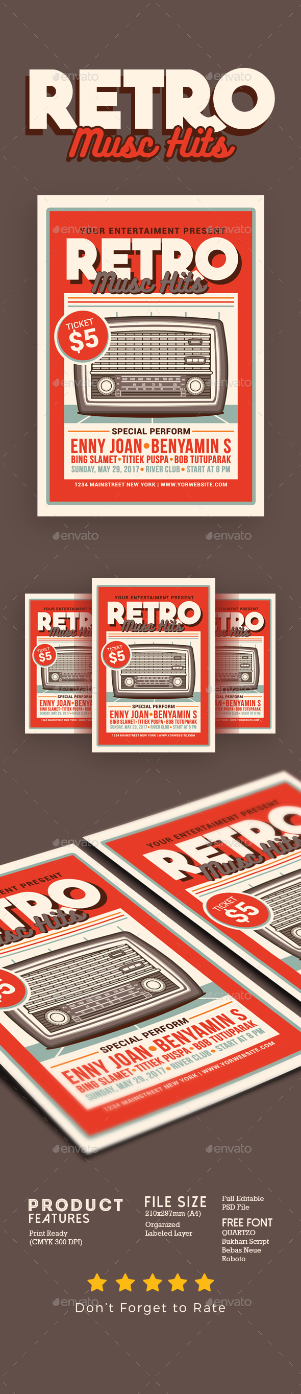 Retro Music Hits Flyer - Events Flyers