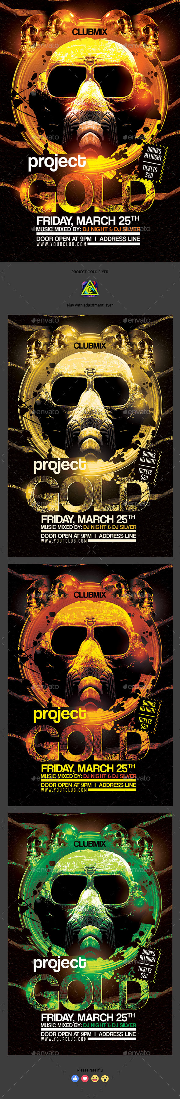 Project Gold Flyer - Clubs & Parties Events