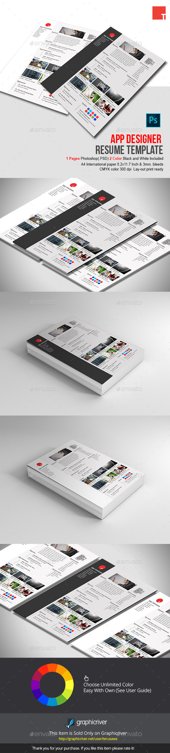 app designer resume template by terusawa graphicriver