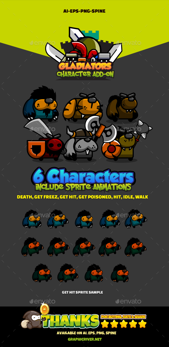 6 Mini Monsters - Sprites Game Assets