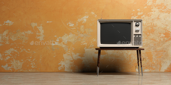 Vintage TV in an empty room. 3d illustration - Stock Photo - Images