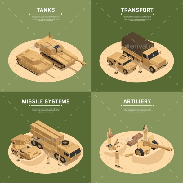 Square Military Vehicles Isometric Icon Set - Man-made Objects Objects