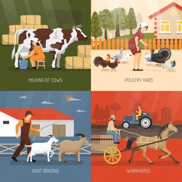 Farm Animals Design Concept - Miscellaneous Vectors