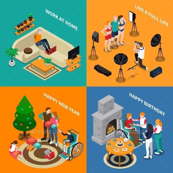 Disabled People Isometric Compositions - People Characters