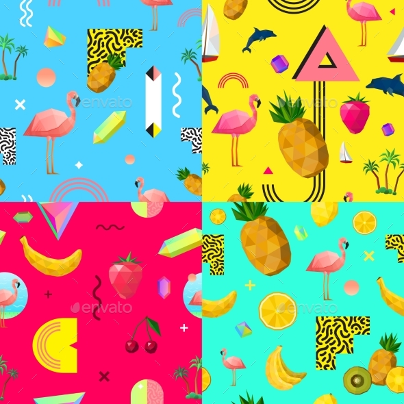 Decorative Colorful Seamless Patterns Set - Backgrounds Decorative