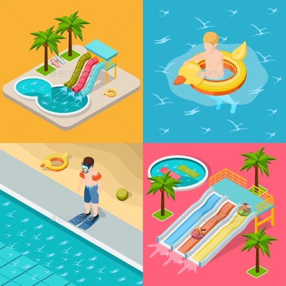 Aqua Park Composition Isometric Icon Set - Sports/Activity Conceptual