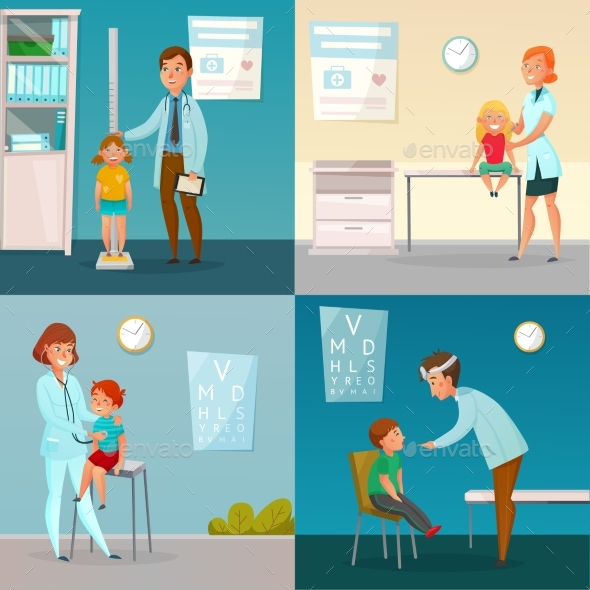 Kids Visit Doctors Cartoon Compositions - Health/Medicine Conceptual