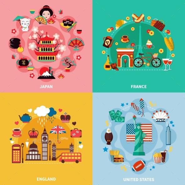 Tourism 2X2 Design Concept - Backgrounds Decorative