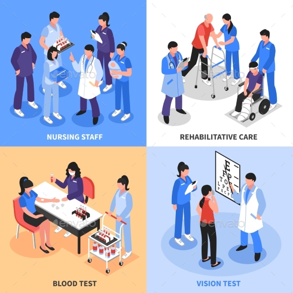 Hospital 4 Isometric Icons Concept - Health/Medicine Conceptual