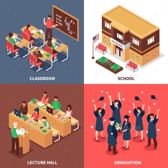School 4 Isometric Icons Concept - Buildings Objects