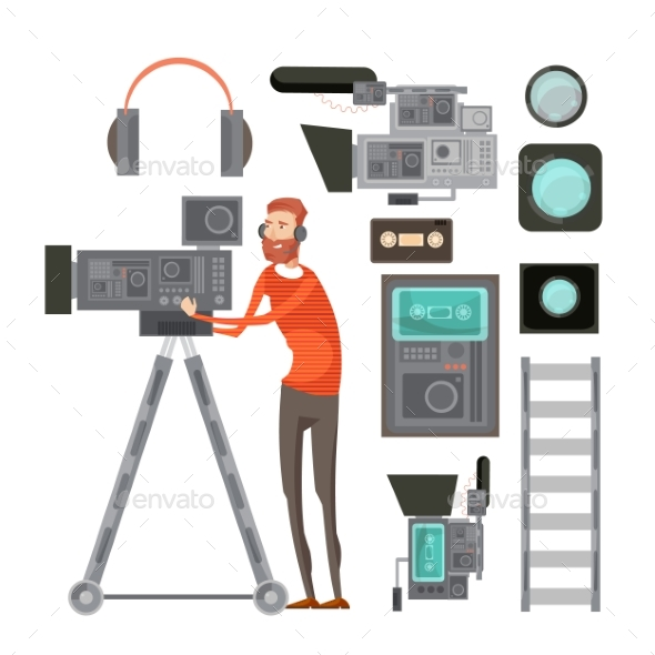 Film Cameraman With Video Equipment - Business Conceptual