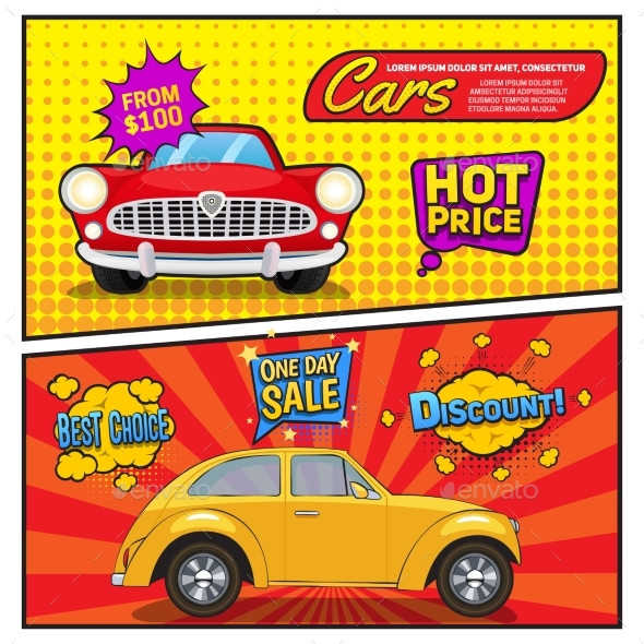 Sales Of Cars Comic Style Banners - Man-made Objects Objects