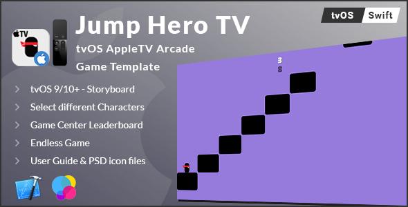 JumpHero TV - tvOS AppleTV Game Template (Swift) - CodeCanyon Item for Sale