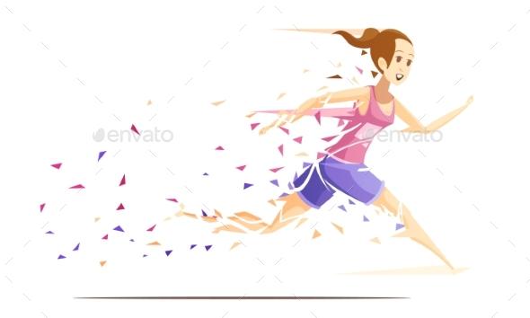 Woman Runner Metafan Concept - People Characters