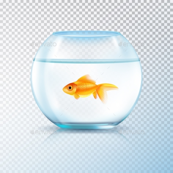 Golden Fish Bowl Realistic Transparent - Animals Characters