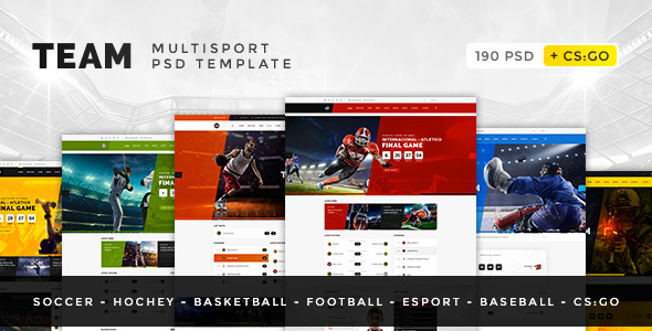 Team — Soccer, Football, Hockey, Basketball, Sport Club and eSport PSD Template - Entertainment PSD Templates