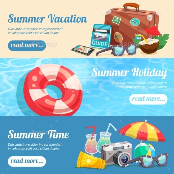 Summer Holiday Banners Set - Seasons/Holidays Conceptual