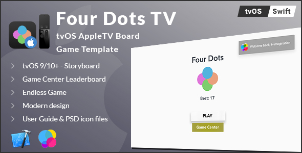 Four Dots TV | tvOS AppleTV Board Game Template (Swift) - CodeCanyon Item for Sale