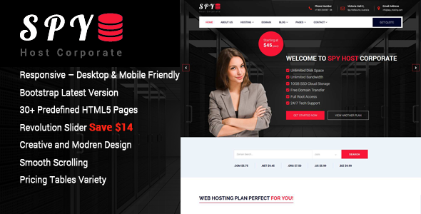 SPY – Web Hosting HTML5 Template
