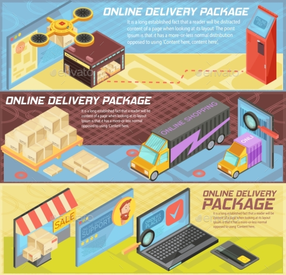 Goods Online Delivery Isometric Banners - Computers Technology