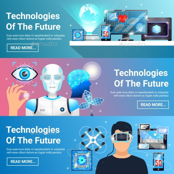 Future Technologies Banners Set - Technology Conceptual