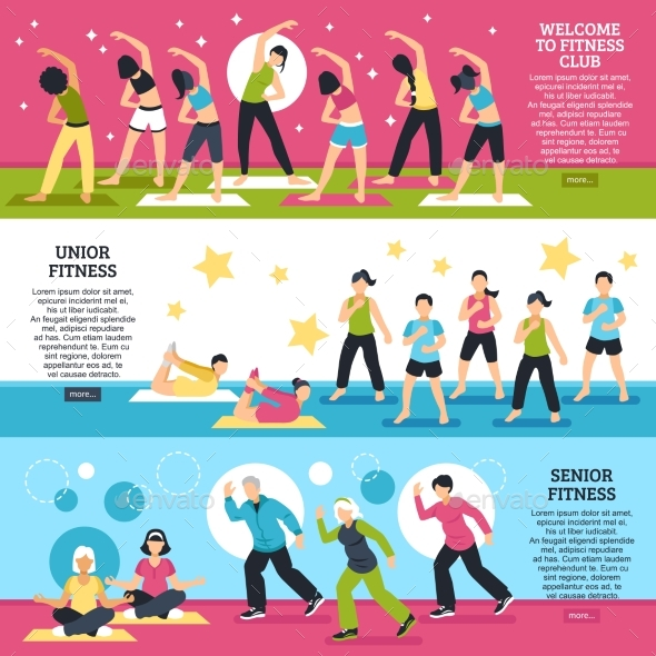 Fitness Classes Horizontal Banners Set - Sports/Activity Conceptual