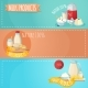 Milk Products Horizontal Banners Set