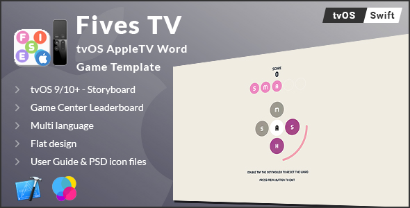 Fives TV | tvOS AppleTV Word Game Template (Swift) - CodeCanyon Item for Sale