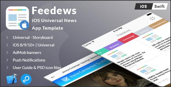 Feedews | iOS Universal News App Template (Swift) - CodeCanyon Item for Sale