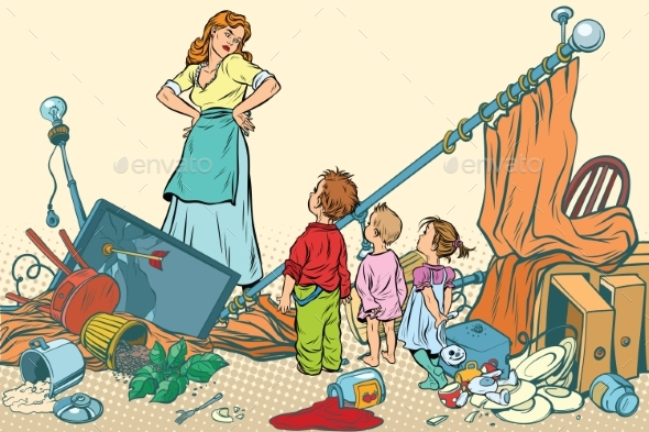 Mother and the Kids Made a Mess at Home - People Characters